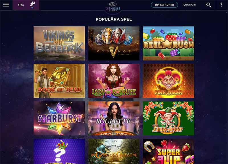 genesis casino spelutbud