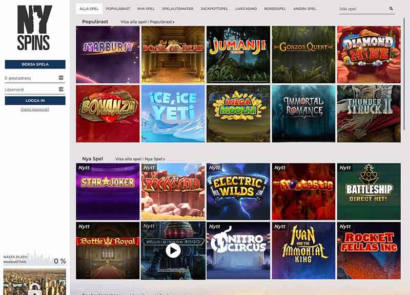 nyspins casino spelutbud