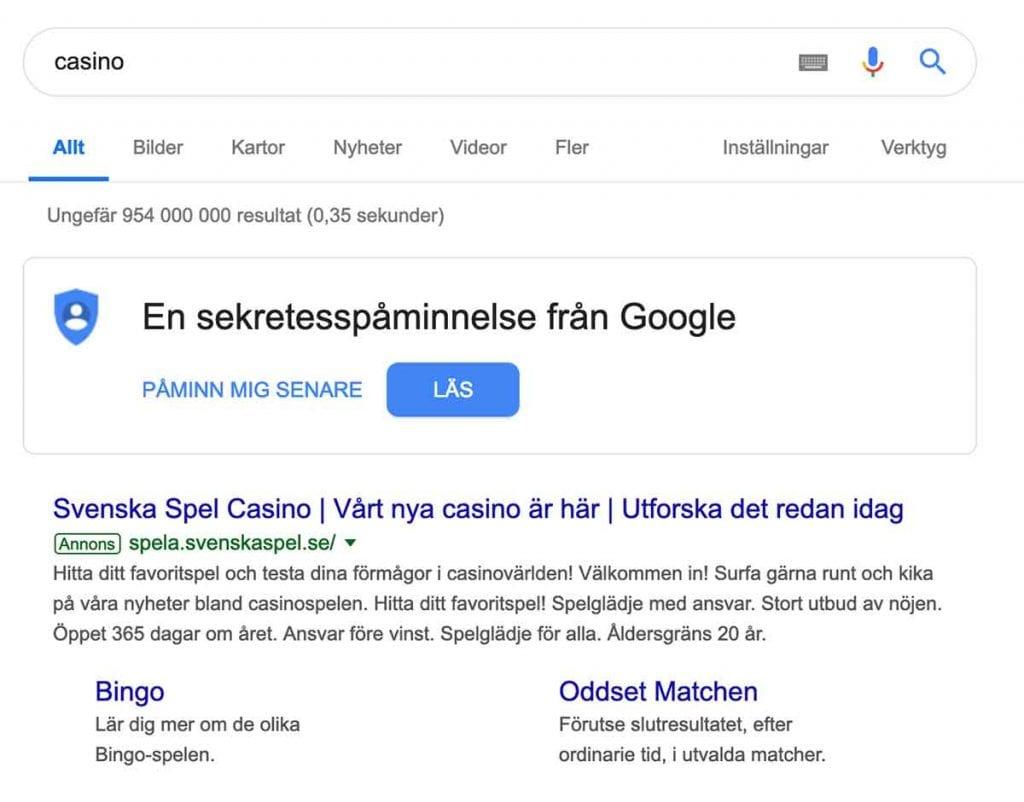 Svenska Spel Adwords
