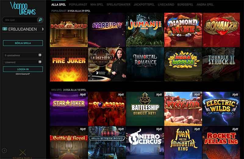 voodoodreams casino spelutbud